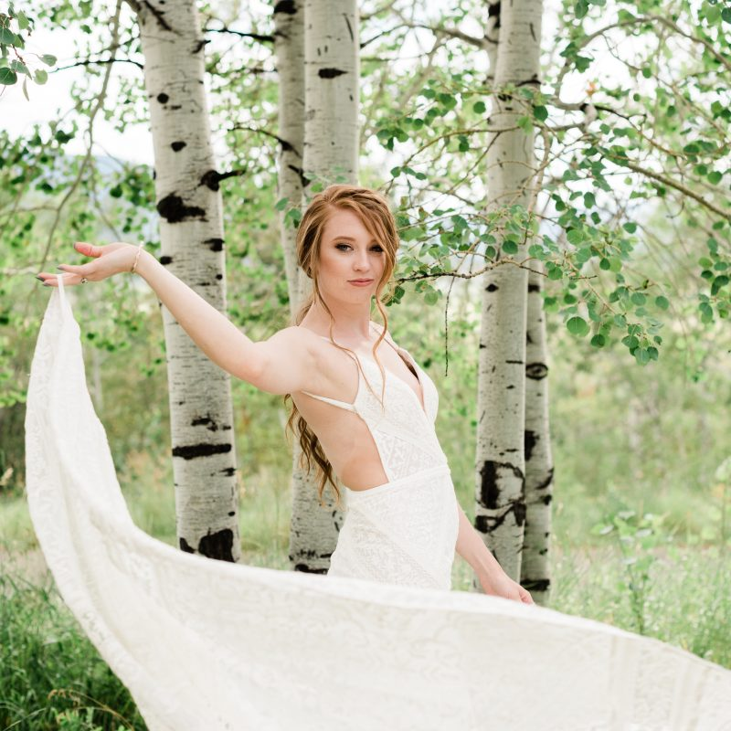 Bride twirling dress
