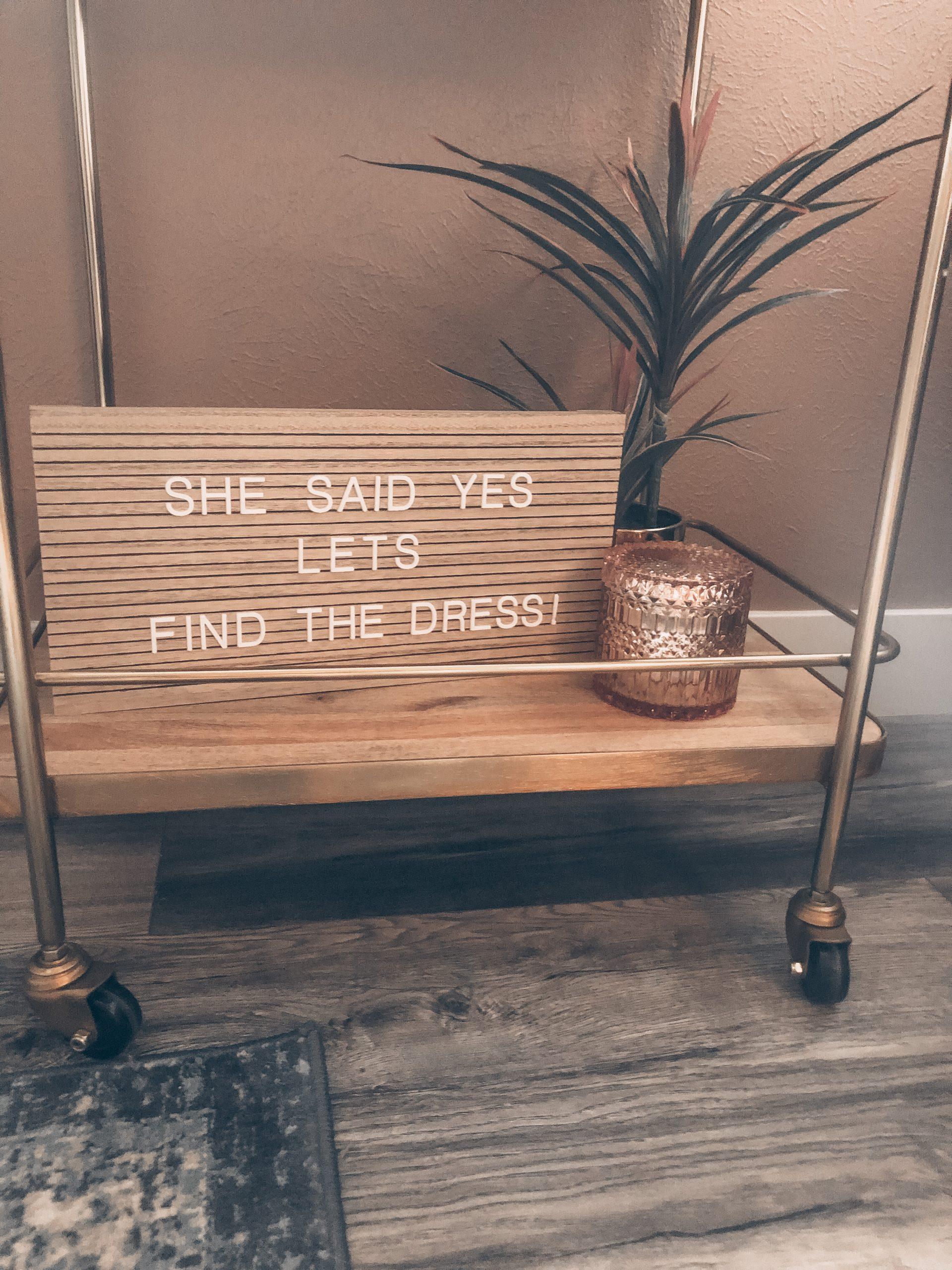 A bar cart at an at home wedding dress shopping appointment