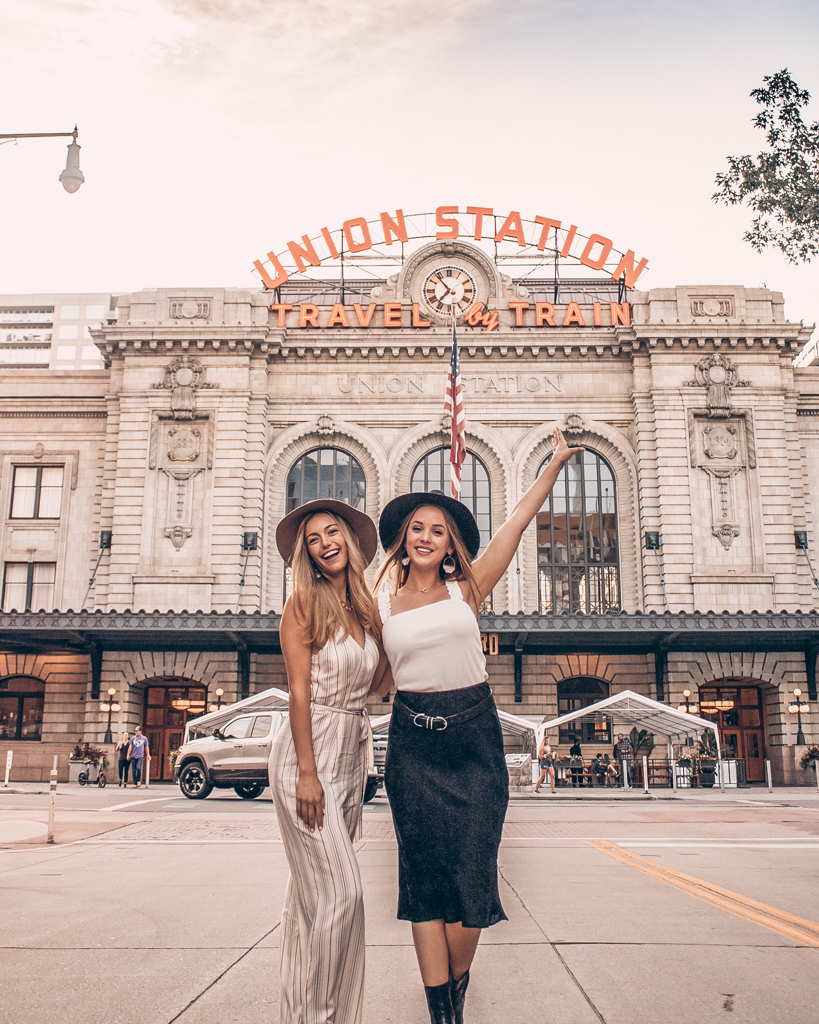 Co-Founders of Runaway Bridal in front of Union Station in Denver, Colorado