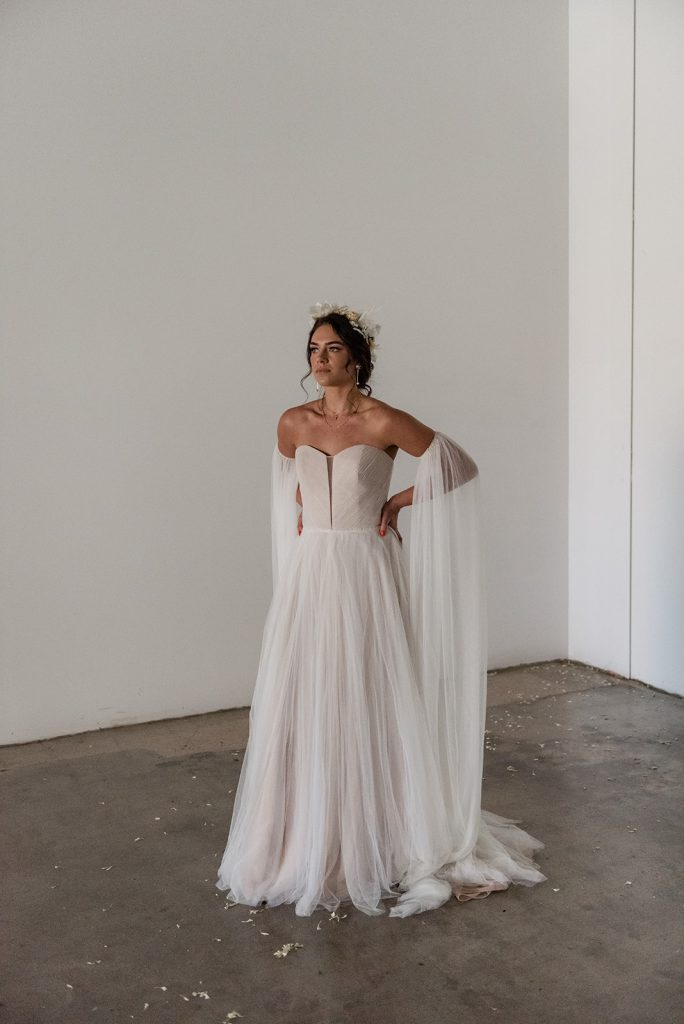 Woman in Tulle Wedding Dress in an Industrial Setting