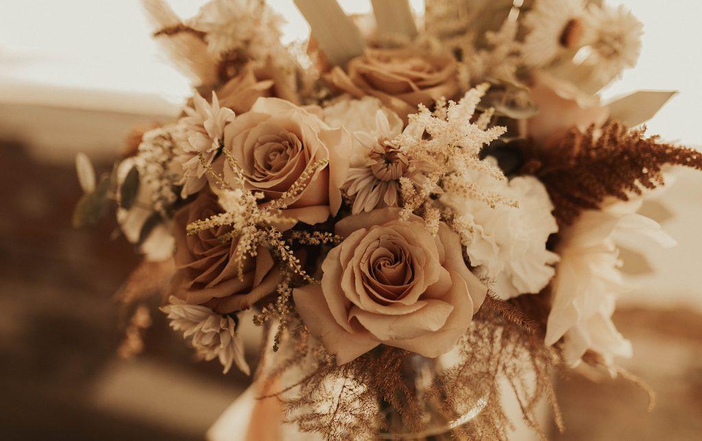 A wedding bouquet in a vase